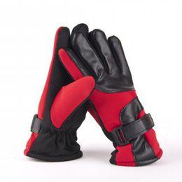 Wholesale Wholesale Winter Leather Gloves - Wholesale-Wholesale 3 Color Mens Leather+Fiber Warm Winter Models Plus Thick Velvet Warm Cotton Gloves Mittens guanti per il fitness black