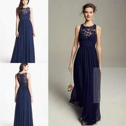 Wholesale Tops Long Back - 2017 Hot Bridesmaid Dresses Elegant Long Floor Navy Blue A Line Jewel Sleeveless Zipper Back Lace Top Part Cheap Handmade Dresses