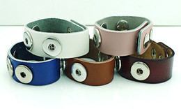 Wholesale Infinity Cuff Bracelets - Brand New Cuff Bracelets Fashion Interchangeable 18mm Snap Button Infinity 5 Color Leather Bracelets DIY Jewelry