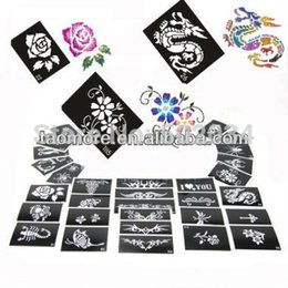 Wholesale Tattoo Wholesale Warehouse - Wholesale-Glitter Tattoo Stencil Design For Body Art Painting 100pcs for glitter tattoo kits supplies Free Shipping from USA warehouse