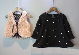 Wholesale Wholesale American Flannel - Girls suit 2016 New Autumn and Winter Korean girls pearl velvet thicken dress + vest 2 pcs sets Children clothes