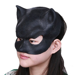 Wholesale Black Women Latex Mask - Halloween Black Cat Latex With Elastic Masks Half Face For Women Fancy Festive & Party Supplies 50pcs lot drop shipping