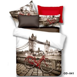 Wholesale Quality Visual - Wholesale-100% Cotton High Quality 3D Full Queen King Size Bedding Sets Duvet Cover Bed Sheet 2 Pillowcase Original Visual London Print