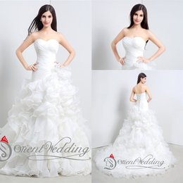 Wholesale Amazing Mermaid - 2015 Free Shipping In Stock White Ivory US2-US16 Amazing Strapless Pleats Ruffles Ball Gown Mermaid Bridal Gown Wedding Dresses
