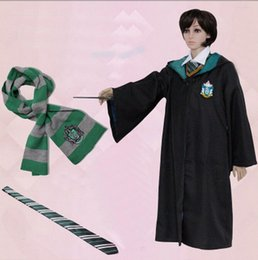Wholesale cape robe - Harry Potter Cloak Cape Magic Robe With Scarf And Tie Gryffindor Cosplay Costume Adult Cloak Robe Cape 4 styles Halloween Gift