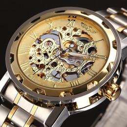 Wholesale Winner Transparent - Wholesale-WINNER Golden Men Skeleton Mechanical Watch Stainess Steel Steel Hand Wind Watches Transparent Steampunk Montre Homme Wristwatch