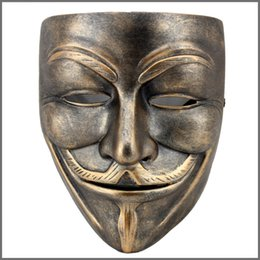 v for vendetta black mask Promo Codes - V for Vendetta Collectible Resin Mask Full Face Vintage Film Bauta Venice Mask Masquerade Party Cosplay Accessories Birthday Gift SD390