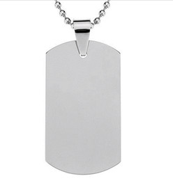 Wholesale Men Necklace Military - DHL Free Shipping Blank Engravable Stainless Steel Dog Tag Military Shape Men Pendant for boys Customized 100 pcs lot Wholesale
