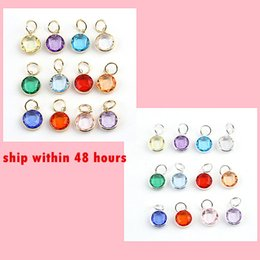 Wholesale Dangling Crystal Bracelet Charms - 240pcs lot Mix Colors Birthstone Crystal dangles of 12 Months Birthstone for Charm Wiring Bracelet expandable bangles