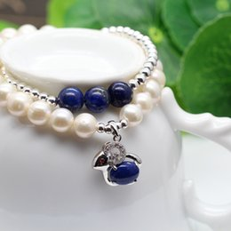 Wholesale Lapis Pearl Jewelry - Natural pearls S925 Sterling Silver Bracelet lapis lazuli bracelets handmade jewelry jewelry wholesale sheep year year of fate