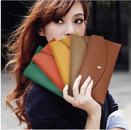 Wholesale Leather Envelope Clutch Purse Wholesale - Candy Color Lady Wallets PU Leather Credit Card Tote Envelope Clutch Bags For Women Wallet Purse Coin bag Pouch DHL