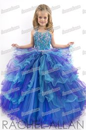Wholesale Dressy Dress Size 12 - Pretty Blue Tulle Straps Beads Flower Girl Dresses Girls' Pageant Dresses Dressy Dress Holidays Dress Custom Size 2 4 6 8 10 12 FF801114