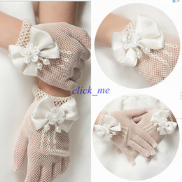 Wholesale made gloves - White Top Quality Flower Firl Gloves Wrist Length Pretty Flower Hand Made Fashion Girls Party Gloves Wedding Bride Accessory