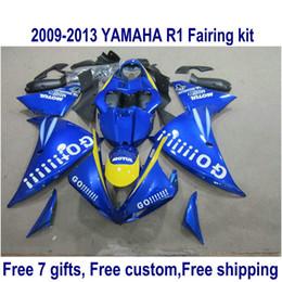 Wholesale Customize Yzf R1 - Free customize fairings set for YAMAHA YZF R1 2009-2011 2012 2013 YZF-R1 blue black GO!!!! fairing body kit 09-13 HA34