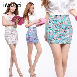 Wholesale Women Office Cloth - Wholesale- iMucci Flower Floral Printed Women Skirt Spring Summer Girl Printing Short Skirts Sexy Hip Blue Red High Waist Office Lady Cloth