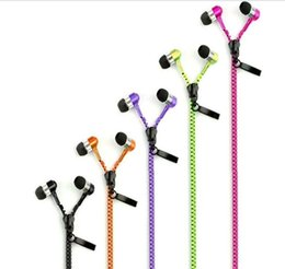 Wholesale Phone Wire Connectors - Universal Colorful Metal Zipper Style Earphone Fashion Headset with 3.5mm Connector Microphone Stereo Bass for phone pad MP3 MP4