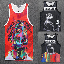 Wholesale Womens Sleeveless Tops Xl - Wholesale-2015 New fashion men womens 3D Vest character print Tupac 2Pac Biggie Sleeveless shirts tank top summer sports Basketball Jersey