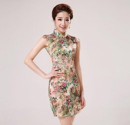 Wholesale Elegant Qipao - 2015 high quality elegant silk slim short qipao dress summer fashion women's cheongsam one-piece dress free shipping long dress