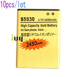 Wholesale Gio Battery - 10pcs lot 2450mAh EB494358VU Gold Replacement Battery For Samsung Galaxy Ace S5830 S5838 Gio S5660 S5670 I569 I579 S7500 Pro B7510 Batteries