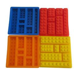 Wholesale Cube Build - Lego square ice cube tray mold chocolate fondant mold FDA DIY silicone baking cake molds 5colors Building Bricks ice molds