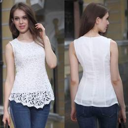 Wholesale Peplum Xxl - New Women Cotton Knitted Lace Sleeveless Tank Tops Plus Size S - 5XL Causal Lace Tops Women Pullovers S-XXL Women Clothing