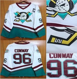 Wholesale Ice Hockey Jersey Ducks - EJ Mighty Ducks Movie Jersey #96 Charlie Conway Hockey Jersey Stitched All Sewn White