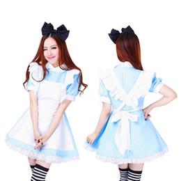 Wholesale Halloween Costumes For Womens - Wholesale-Halloween Maid Costumes Womens Adult Alice in Wonderland Costume Suit Maids Lolita Fancy Dress Cosplay Costume for Women Girl