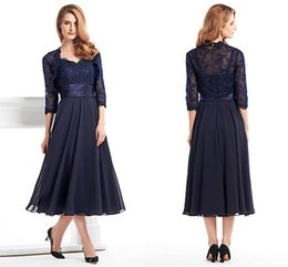 Wholesale Sweetheart Tea Dress - Custom Made Tea Length Mother Of The Bride Groom Dress With Jacket Long Sleeves Navy Blue Lace Plus Size Women Evening Formal Gown