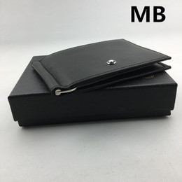 Wholesale American Clip - Classic MB Brand Designer Wallet with Credit Card Holder Black Genuine Leather Money Clip Thin ID Card Case for Travel Man Metal Purse