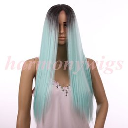 Wholesale Cheap Heat Resistant Lace Fronts - Cheap Lace Front Wigs 20inch ombre color chocolate Black& Mint Green Synthetic heat Resistant Hair wigs hot sale