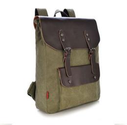 Wholesale Leather Backpack Camping - Mens Vintage Canvas Leather Travel Camping Backpack Satchel Shoulder School Bag