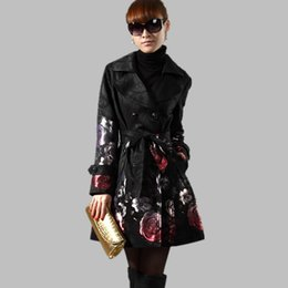Wholesale Jacquard Rose Coat - 2017 New Spring Autumn Women's Floral Trench Long Outerwear Plus Size Rose Jacquard Double Breasted Slim Trench Coat Female C254