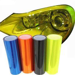 Getöntes auto pvc vinyl online-30 * 200 cm Auto Licht Aufkleber Film Selbstklebende Nebelscheinwerfer Scheinwerfer Rücklicht Farbton Vinyl Farbe ändern Folien 3 Schicht Schwarz Golden