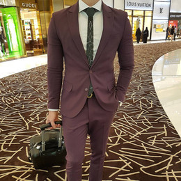 body fit clothing Coupons - Burgundy Groom Wear Jacket And Pants Mens Clothes To Suit Your Body Shape High Quality Slim Fit Wedding Suits Fast Shipping