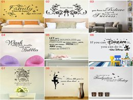 Wholesale Vinyl Wall Art Sayings - DHL EMS Mix 9 styles Wall Quotes Decal Words Lettering Saying Wall Decor Sticker Vinyl Wall Art Stickers Decals