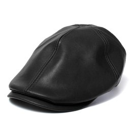 Wholesale Gatsby Newsboy Hats - Wholesale-Men's Leather Ivy gentleman Cap Bonnet Newsboy Beret Cabbie Gatsby Flat Golf Hat