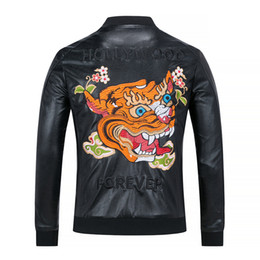 Wholesale Moto Skull - Fashion Men's Winter Leather Jackets Faux Jacket Korean Stylish Slim Fit Coats Men Moto Skull Suede Jacket For Men ,M-3XL