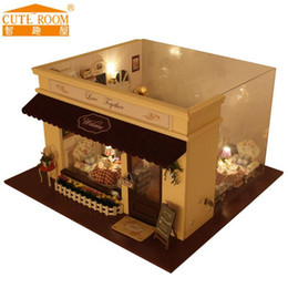 Wholesale Hot House Kits - Wholesale- 2016 Hot Sale Home Decoration Crafts Wooden Doll Houses Miniature DIY dollhouse Furniture Kit Room LED Lights Gift A-011