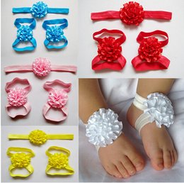 Wholesale Silk Lace Red Gloves - The latest European and American children's baby hair band head flower headdress gloves suit factory direct 9-election 20set