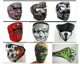 Wholesale Neoprene Motorcycle Face Masks - 9 Styles Desinged Skull Face Mask Men Man Mens Neoprene Motorcycle Bike Cycling Party Face Mask Lightweight Stretch Winter Facemask Masks