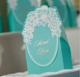 Wholesale Wholesale Blue Wedding Lighting - 2016 Paper Wedding Favor Boxes Light Blue Candy Boxes Wedding Decoration Favor Holders Creative Favor Holders