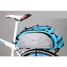 Wholesale Bike Rear Panniers - 2016 Roswheel 13L Cycling Bicycle Bike Pannier Rear Seat Bag Rack Trunk Shoulder Handbag Black Blue Color 14541