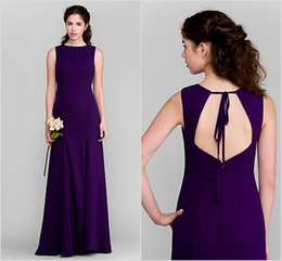 Wholesale Regency Chiffon Bridesmaid - Discount Hot Sale Custom Made Free Shippping 2015 Bridesmaid Dresses Floor-length Chiffon Regency Open Back Sheath Column Jewel Dresses