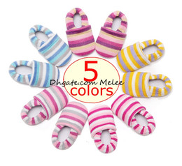 Wholesale rainbow striped fabric - xmas ins infant rainbow anti lost walking shoes baby striped cotton first walkers shoes best for 0-18Mos 5colors choose free ship