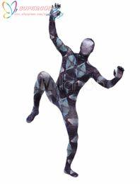 Wholesale Stylish Costumes Men - Wholesale-High Quality Halloween Carnival Party Multi Color Unisex Geometric Print Lycra Spandex Stylish Multicolor Zentai Suit