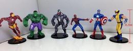Wholesale red hulk - 6pcs set Boy Gift The Avengers Action Figures Hulk Batman Thor Iron Man Spiderman Captain America Super Heros Toys