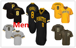 Wholesale S Pirate - Mens Pirates 8 Willie Stargell Baseball Jersey Black White Gray Grey Gold Green Salute Players Weekend All Star Team Logo Memorial Day