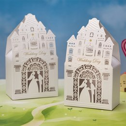 Wholesale Decorations For Church - Gorgeous Cream White Church Cut-out Chocolate Gifts Candy Favors Boxes With for Wedding Laser Cut Ceremony Party Decoration