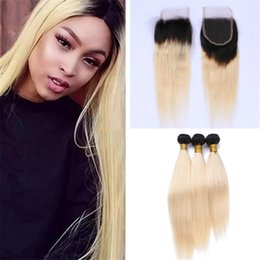 Wholesale Blonde Lace Top Closure - Dark Root 1B 613 Ombre Straight Hair Weaves With Lace Closure With Bundles 1B Blonde Ombre Human Hair Wefts With 4*4 Top Closure