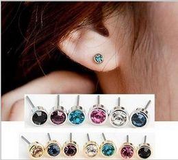Wholesale Earring Multicolor Crystals - Cute Women Stud Earrings Charm Earings Ear Stud Shinny Rhinestone Earrings Jewelry Accessories Multicolor Simple Austrian Crystal Earing 5mm